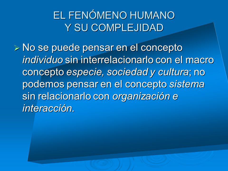 EL FENÓMENO HUMANO Y SU COMPLEJIDAD No se puede pensar en el concepto individuo sin interrelacionarlo con el macro concepto especie, sociedad y cultur