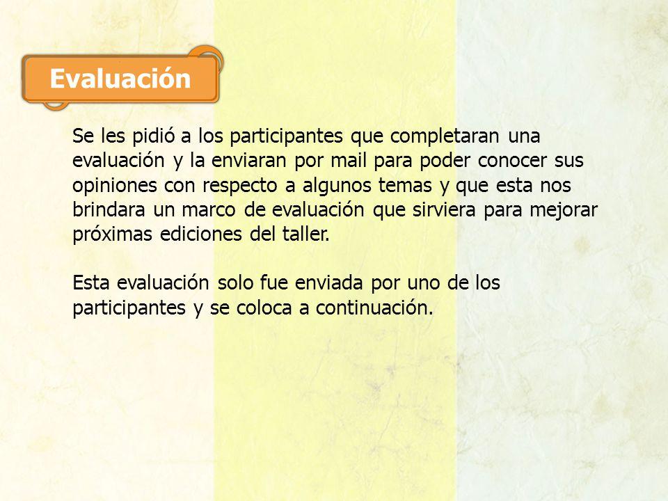 Se les pidió a los participantes que completaran una evaluación y la enviaran por mail para poder conocer sus opiniones con respecto a algunos temas y