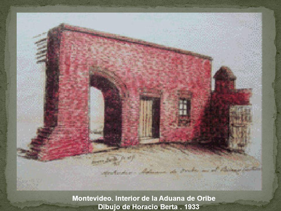 Montevideo. Interior de la Aduana de Oribe Dibujo de Horacio Berta. 1933