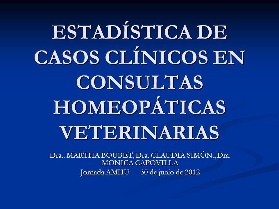 Se realizó un estudio transversal o crosseccional Objetivo: Recabar datos estadísticos sobre población que consulta por Medicina Homeopática Veterinaria, del 2009 al 2011 en Montevideo y Canelones.