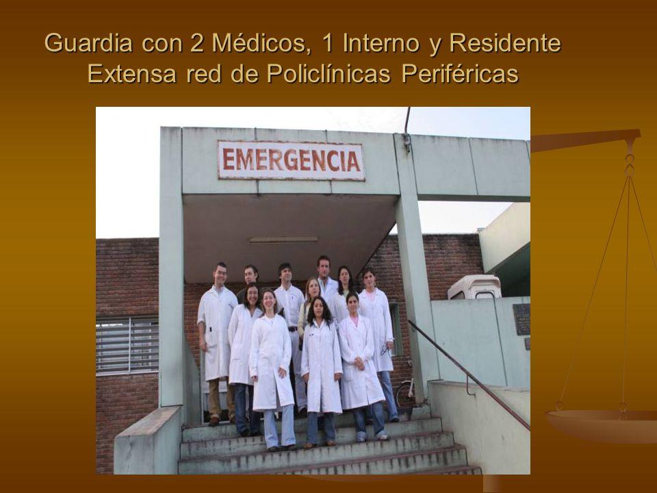 Guardia con 2 Médicos, 1 Interno y Residente Extensa red de Policlínicas Periféricas