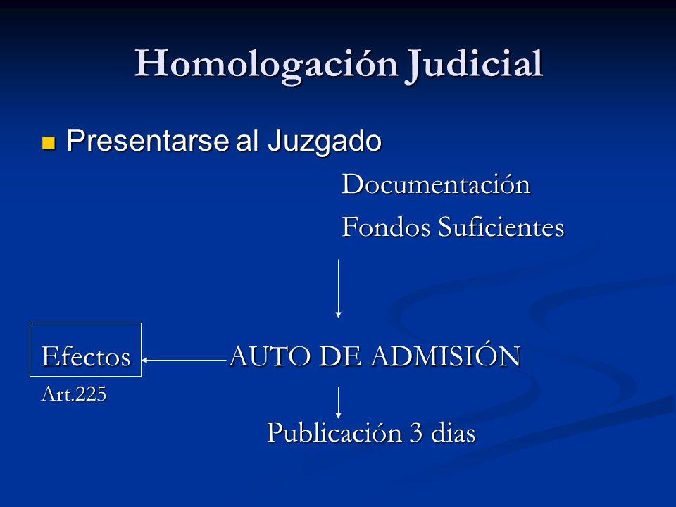 Homologación Judicial Presentarse al Juzgado Presentarse al Juzgado Documentación Documentación Fondos Suficientes Fondos Suficientes Efectos AUTO DE ADMISIÓN Art.225 Publicación 3 dias Publicación 3 dias