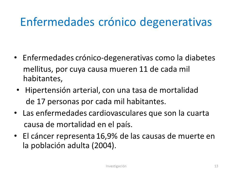Enfermedades crónico degenerativas Enfermedades crónico-degenerativas como la diabetes mellitus, por cuya causa mueren 11 de cada mil habitantes, Hipertensión arterial, con una tasa de mortalidad de 17 personas por cada mil habitantes.