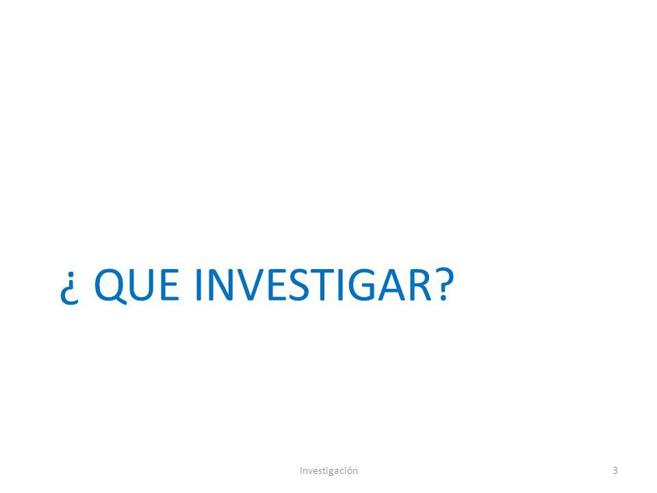 ¿ QUE INVESTIGAR? Investigación3