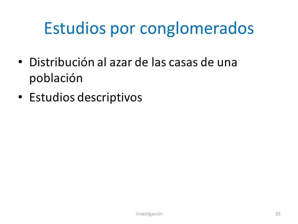 Estudios por conglomerados Distribución al azar de las casas de una población Estudios descriptivos Investigación33