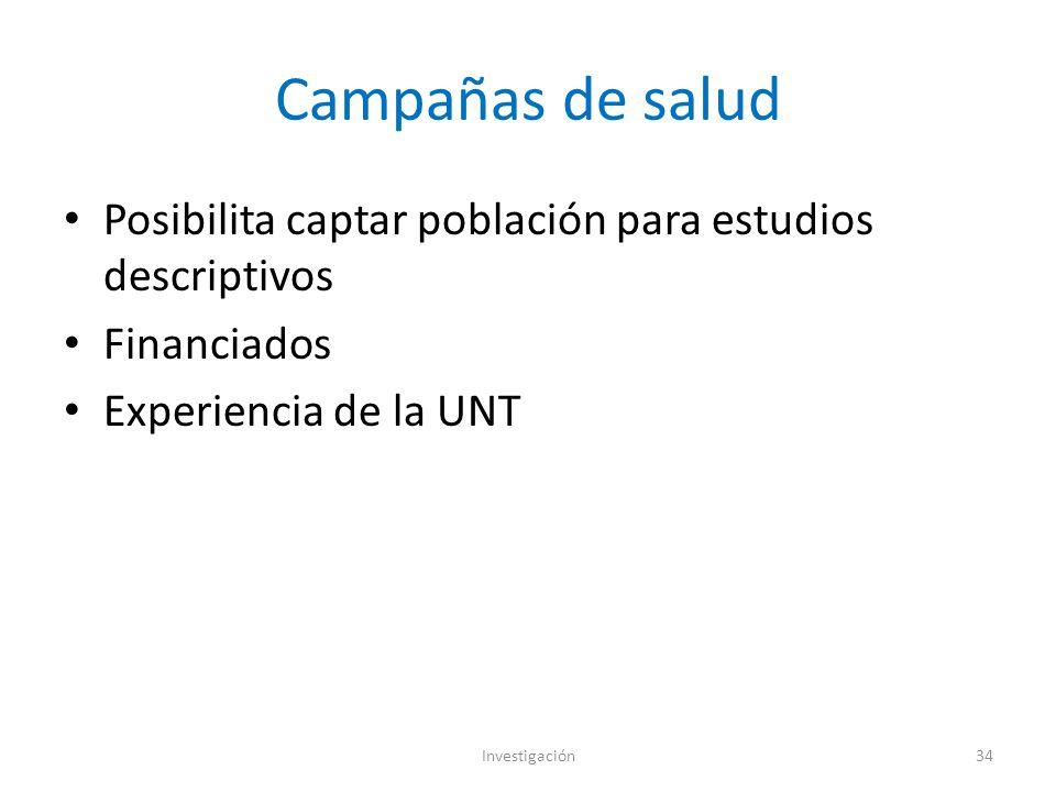 Campañas de salud Posibilita captar población para estudios descriptivos Financiados Experiencia de la UNT Investigación34