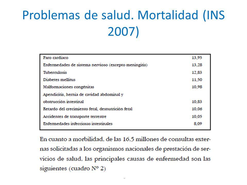 Problemas de salud. Mortalidad (INS 2007) Investigación5
