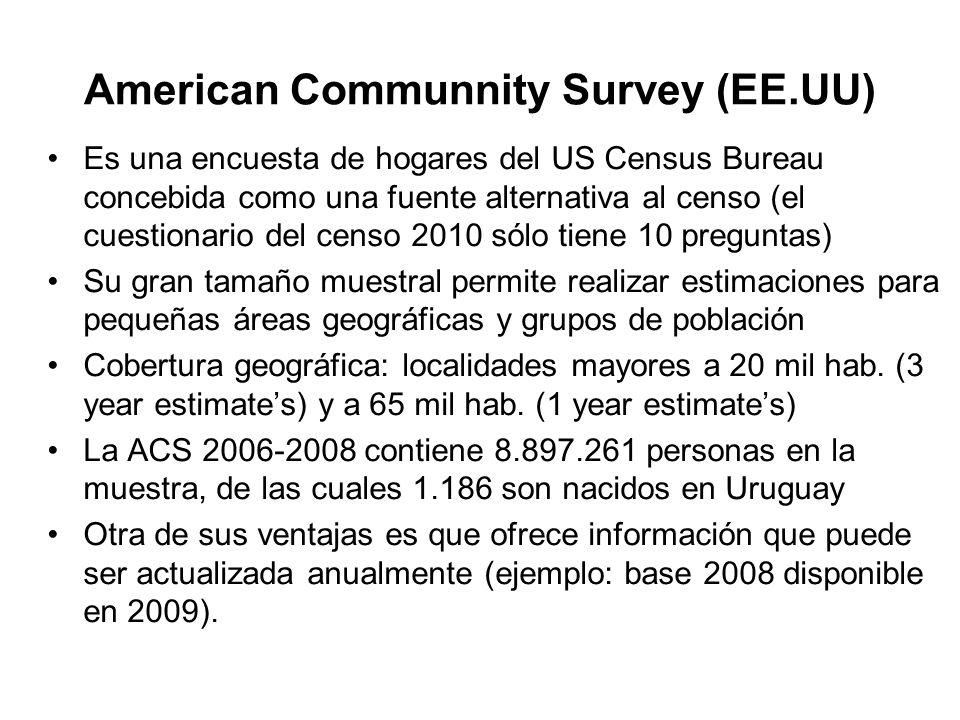 American Communnity Survey (EE.UU) Es una encuesta de hogares del US Census Bureau concebida como una fuente alternativa al censo (el cuestionario del