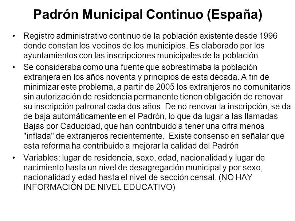 Padrón Municipal Continuo (España) Registro administrativo continuo de la población existente desde 1996 donde constan los vecinos de los municipios.