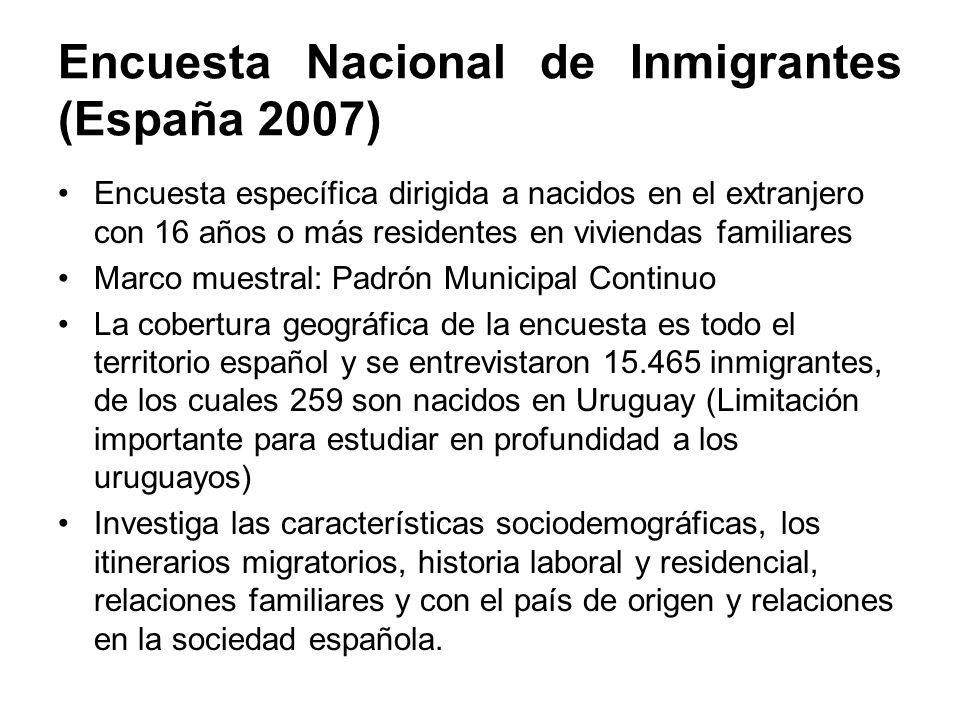 Encuesta Nacional de Inmigrantes (España 2007) Encuesta específica dirigida a nacidos en el extranjero con 16 años o más residentes en viviendas famil