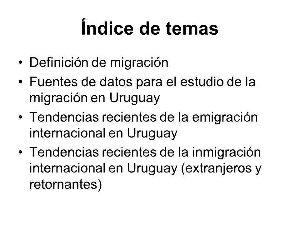 Índice de temas Definición de migración Fuentes de datos para el estudio de la migración en Uruguay Tendencias recientes de la emigración internaciona