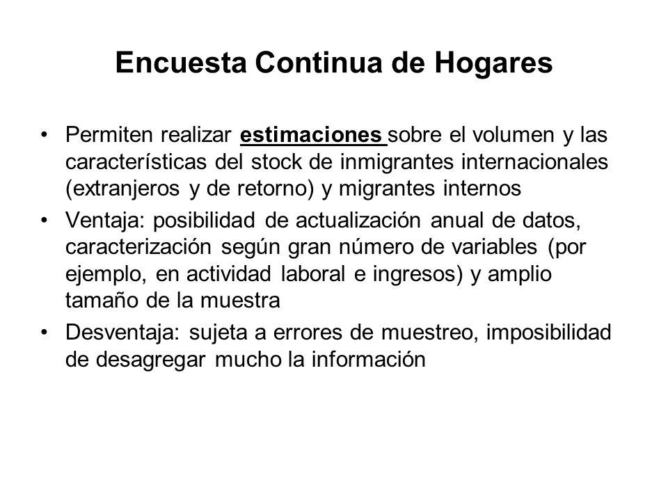 Encuesta Continua de Hogares Permiten realizar estimaciones sobre el volumen y las características del stock de inmigrantes internacionales (extranjer