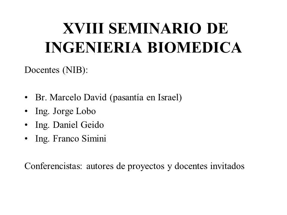 XVIII SEMINARIO DE INGENIERIA BIOMEDICA Docentes (NIB): Br.
