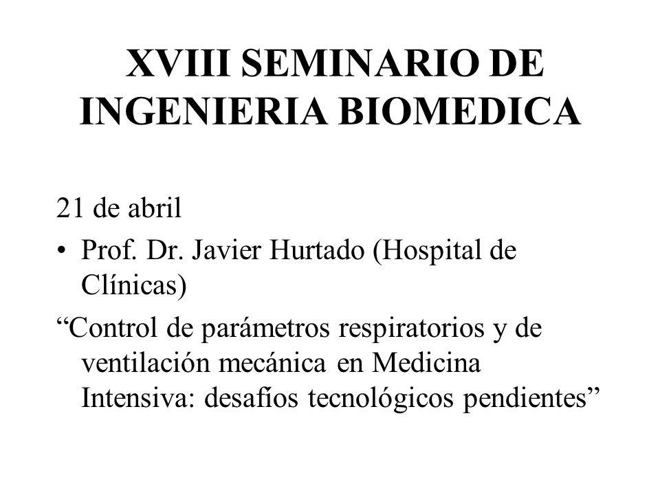 XVIII SEMINARIO DE INGENIERIA BIOMEDICA 21 de abril Prof. Dr. Javier Hurtado (Hospital de Clínicas) Control de parámetros respiratorios y de ventilaci