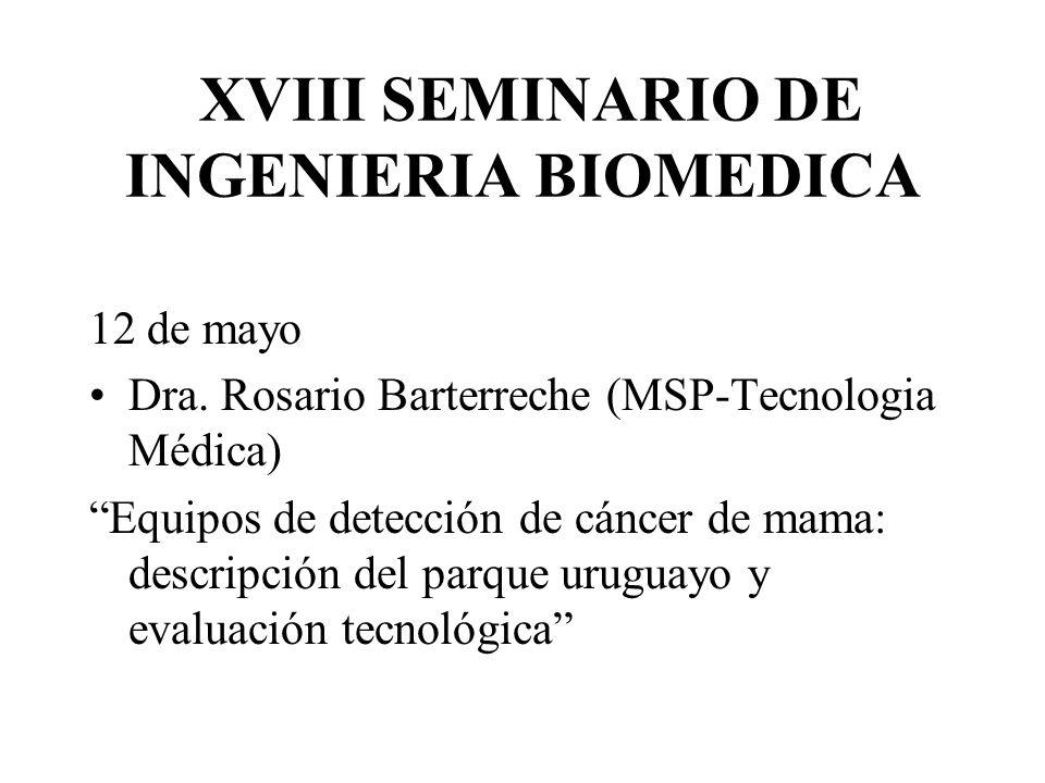 XVIII SEMINARIO DE INGENIERIA BIOMEDICA 12 de mayo Dra. Rosario Barterreche (MSP-Tecnologia Médica) Equipos de detección de cáncer de mama: descripció
