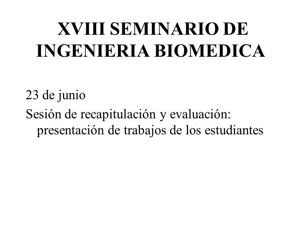 XVIII SEMINARIO DE INGENIERIA BIOMEDICA 23 de junio Sesión de recapitulación y evaluación: presentación de trabajos de los estudiantes