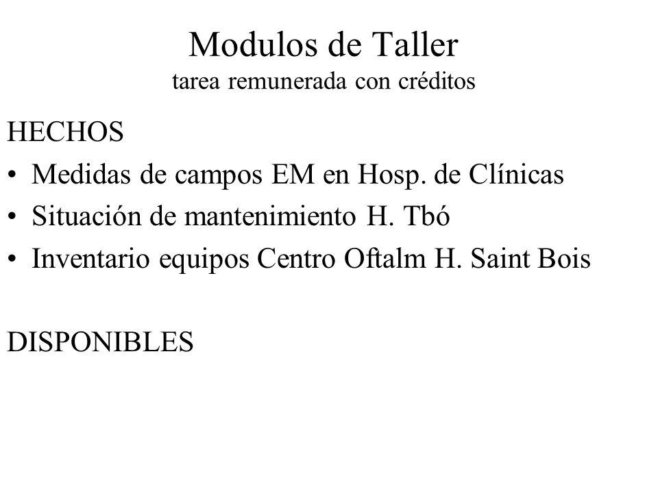 Modulos de Taller tarea remunerada con créditos HECHOS Medidas de campos EM en Hosp.
