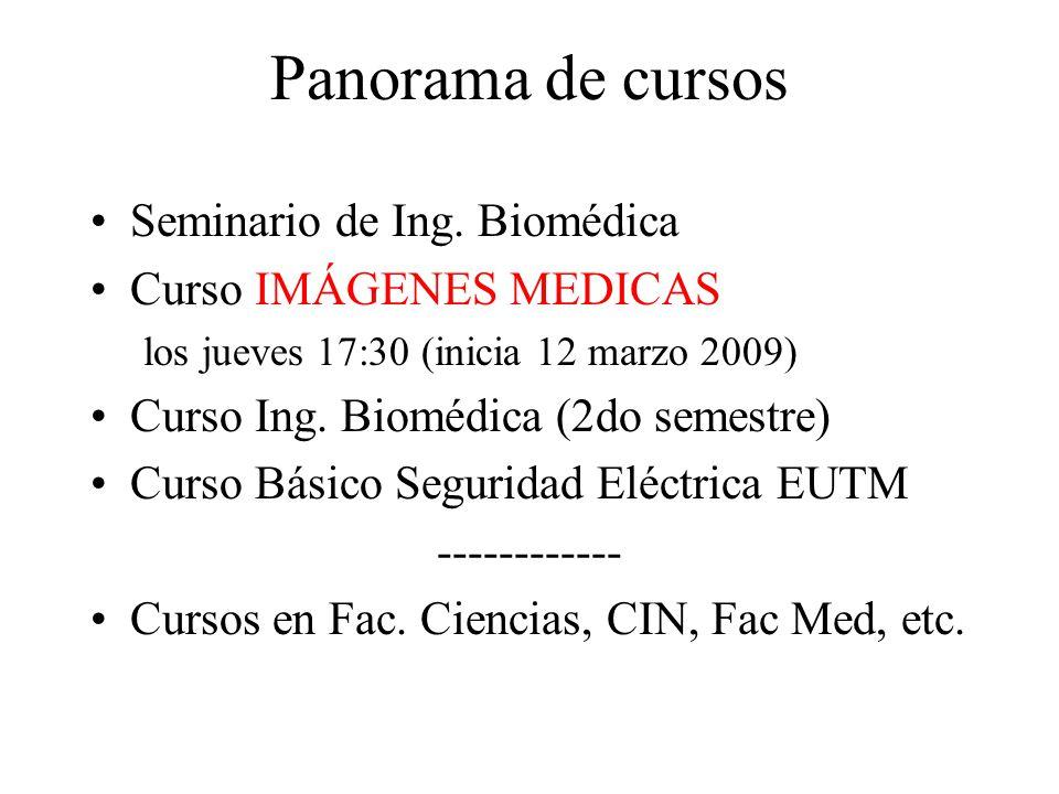 Panorama de cursos Seminario de Ing. Biomédica Curso IMÁGENES MEDICAS los jueves 17:30 (inicia 12 marzo 2009) Curso Ing. Biomédica (2do semestre) Curs