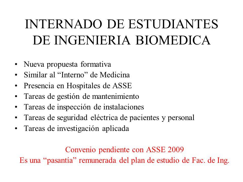 INTERNADO DE ESTUDIANTES DE INGENIERIA BIOMEDICA Nueva propuesta formativa Similar al Interno de Medicina Presencia en Hospitales de ASSE Tareas de ge