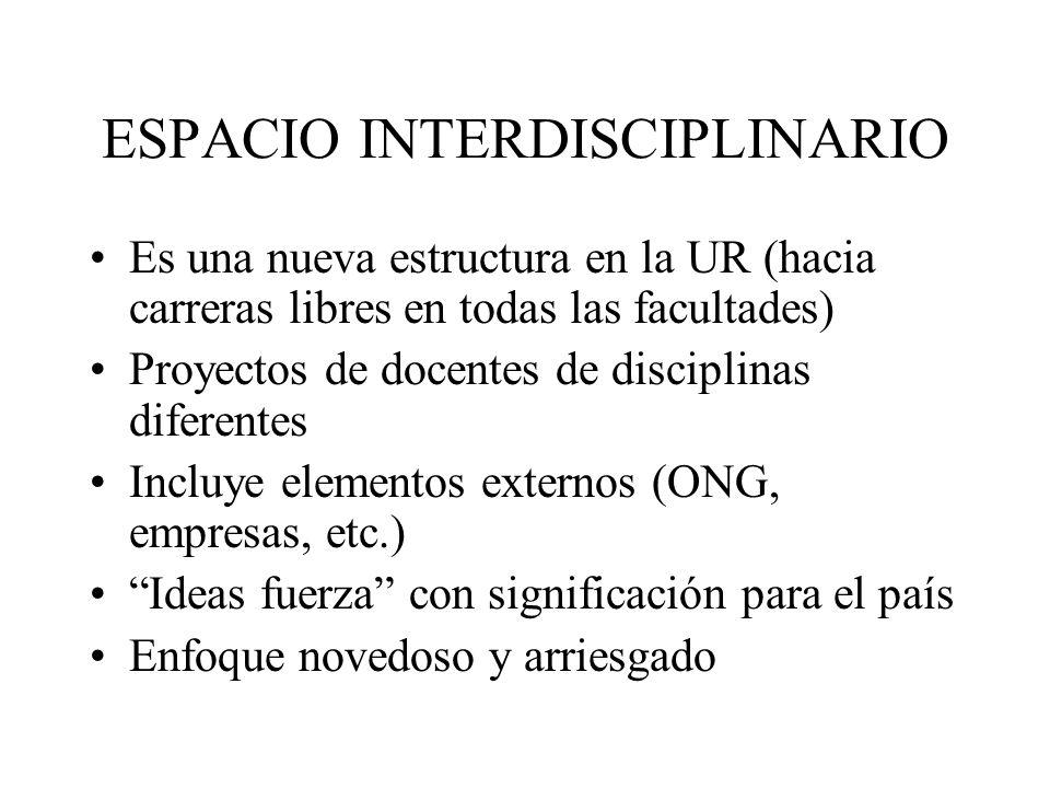 ESPACIO INTERDISCIPLINARIO Es una nueva estructura en la UR (hacia carreras libres en todas las facultades) Proyectos de docentes de disciplinas difer