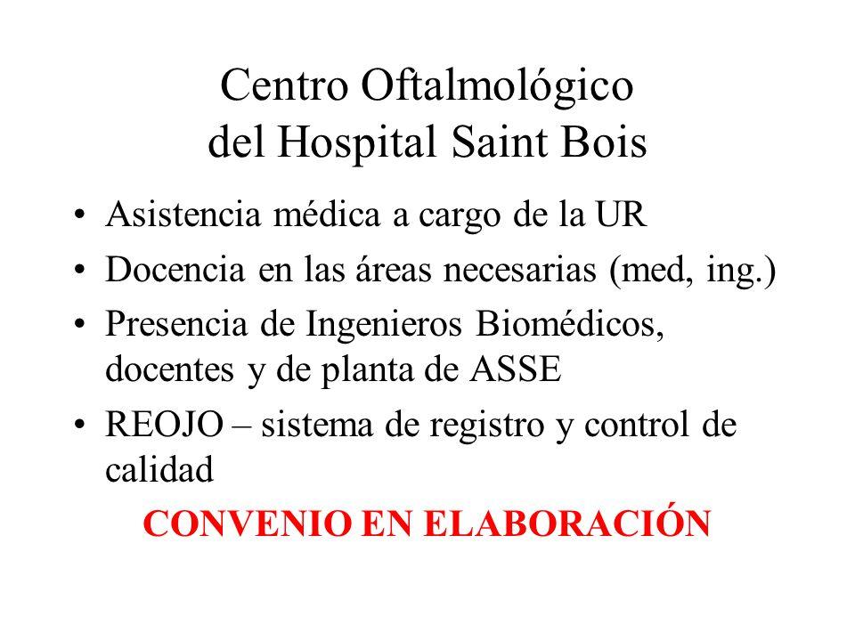 Centro Oftalmológico del Hospital Saint Bois Asistencia médica a cargo de la UR Docencia en las áreas necesarias (med, ing.) Presencia de Ingenieros Biomédicos, docentes y de planta de ASSE REOJO – sistema de registro y control de calidad CONVENIO EN ELABORACIÓN