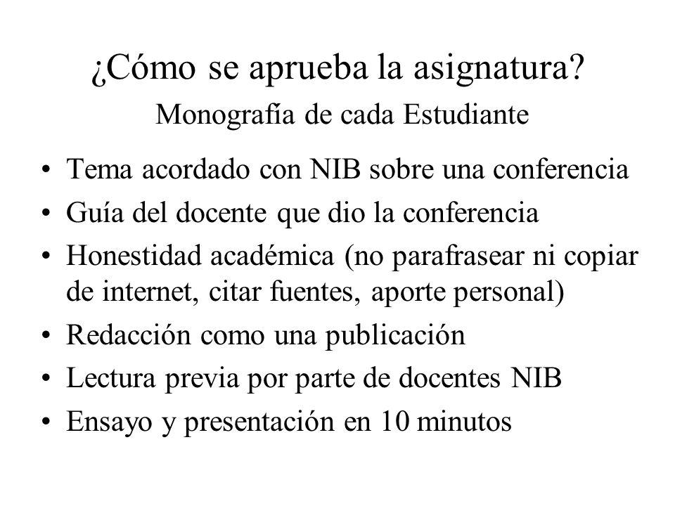 ¿Cómo se aprueba la asignatura? Monografía de cada Estudiante Tema acordado con NIB sobre una conferencia Guía del docente que dio la conferencia Hone
