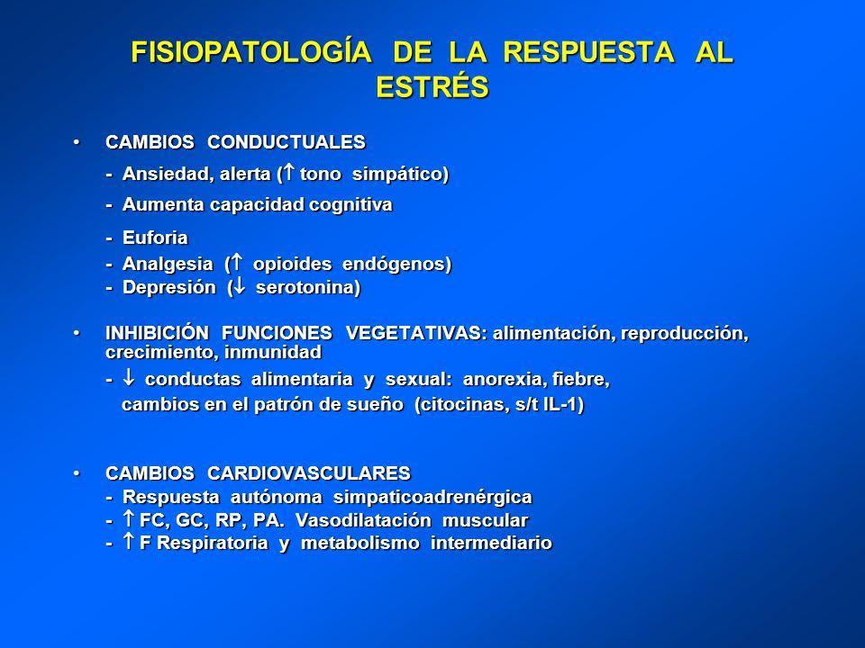 FISIOPATOLOGÍA DE LA RESPUESTA AL ESTRÉS CAMBIOS CONDUCTUALESCAMBIOS CONDUCTUALES - Ansiedad, alerta ( tono simpático) - Ansiedad, alerta ( tono simpá