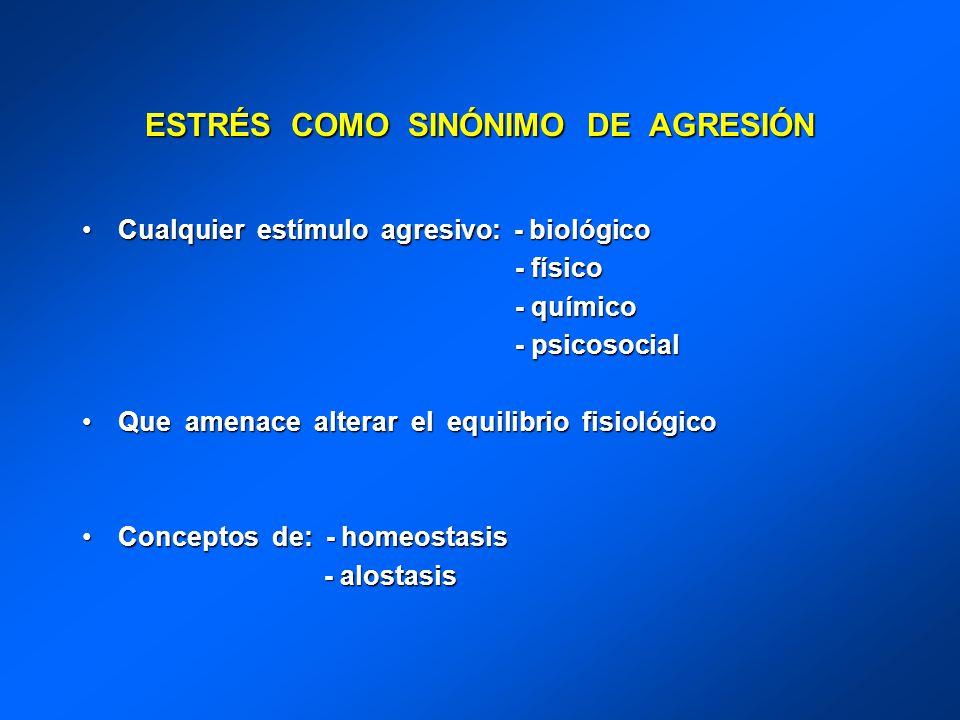 ESTRÉS COMO SINÓNIMO DE AGRESIÓN Cualquier estímulo agresivo: - biológicoCualquier estímulo agresivo: - biológico - físico - físico - químico - químic