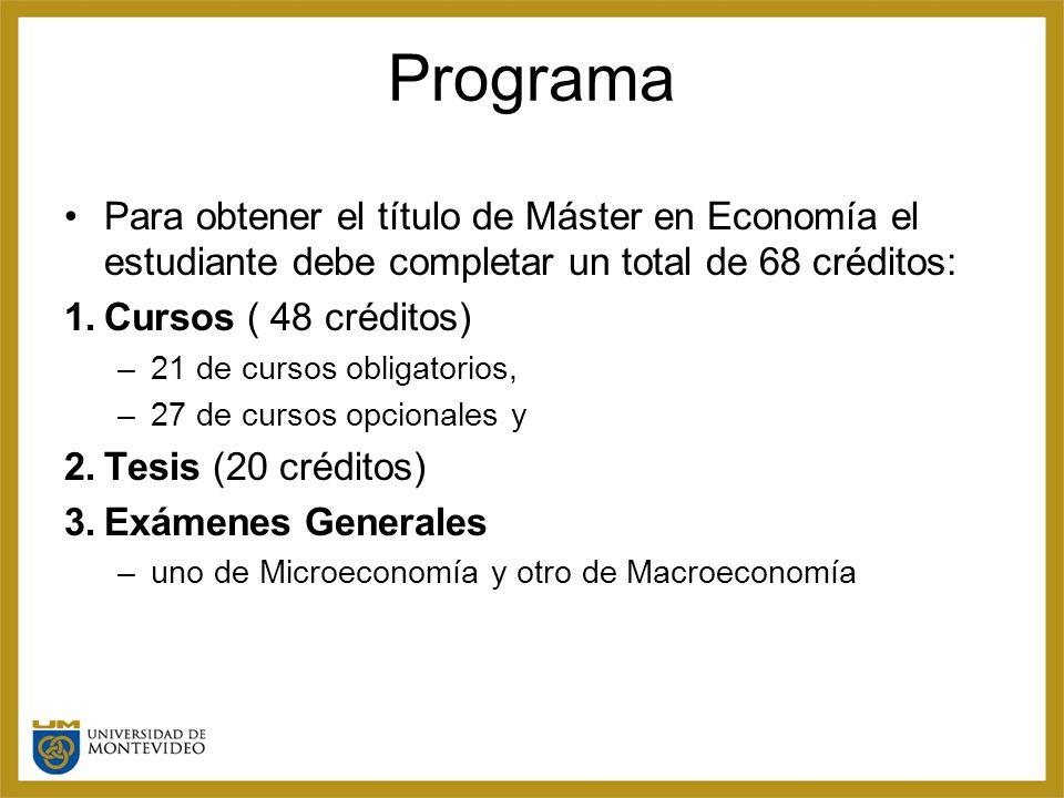 Programa Para obtener el título de Máster en Economía el estudiante debe completar un total de 68 créditos: 1.Cursos ( 48 créditos) –21 de cursos obligatorios, –27 de cursos opcionales y 2.Tesis (20 créditos) 3.Exámenes Generales –uno de Microeconomía y otro de Macroeconomía