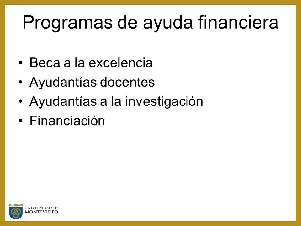 Programas de ayuda financiera Beca a la excelencia Ayudantías docentes Ayudantías a la investigación Financiación