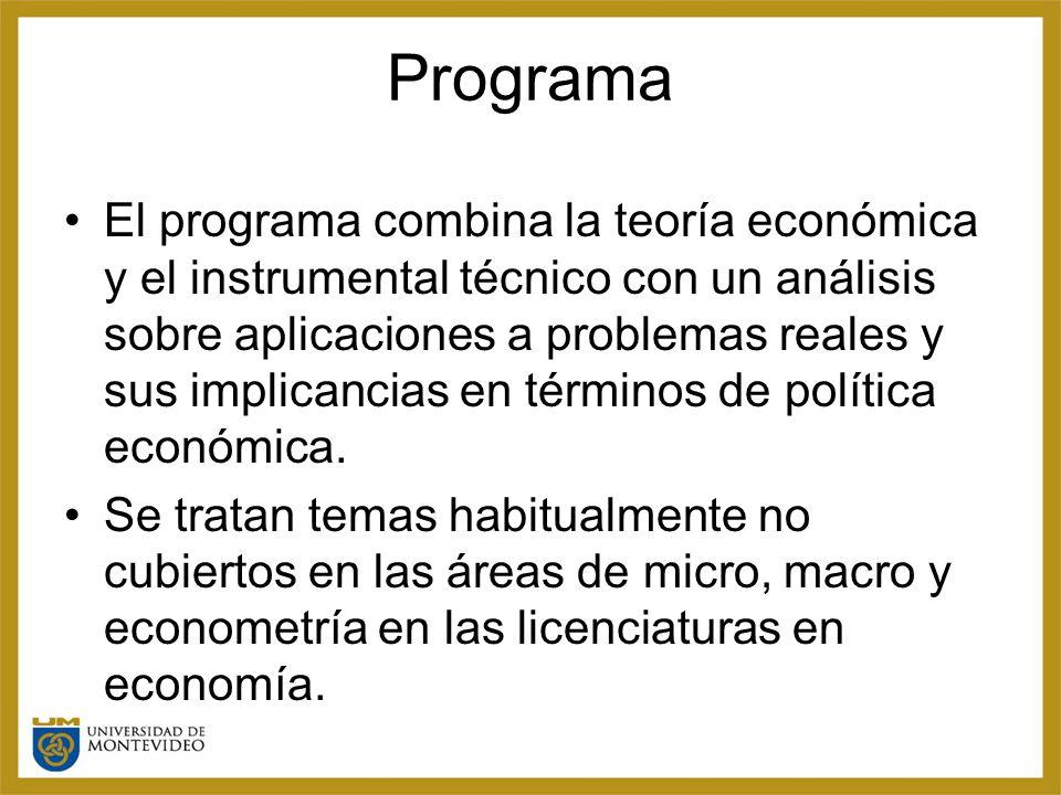 Programa El programa combina la teoría económica y el instrumental técnico con un análisis sobre aplicaciones a problemas reales y sus implicancias en términos de política económica.