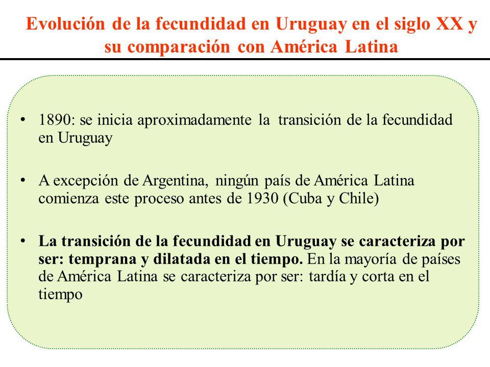 Evolución de la fecundidad en Uruguay en el siglo XX y su comparación con América Latina 1890: se inicia aproximadamente la transición de la fecundida