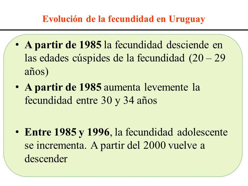 A partir de 1985 la fecundidad desciende en las edades cúspides de la fecundidad (20 – 29 años) A partir de 1985 aumenta levemente la fecundidad entre