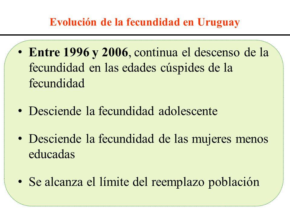 Entre 1996 y 2006, continua el descenso de la fecundidad en las edades cúspides de la fecundidad Desciende la fecundidad adolescente Desciende la fecu