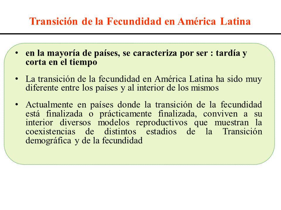 Transición de la Fecundidad en América Latina en la mayoría de países, se caracteriza por ser : tardía y corta en el tiempo La transición de la fecund