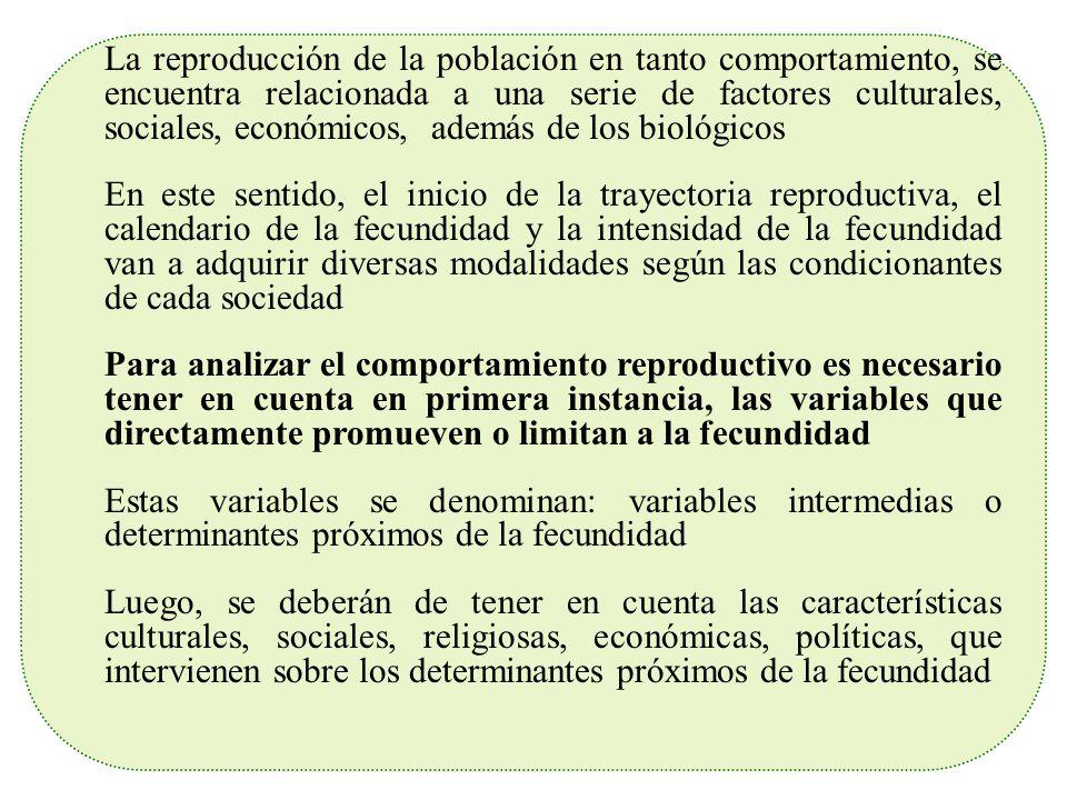 La reproducción de la población en tanto comportamiento, se encuentra relacionada a una serie de factores culturales, sociales, económicos, además de