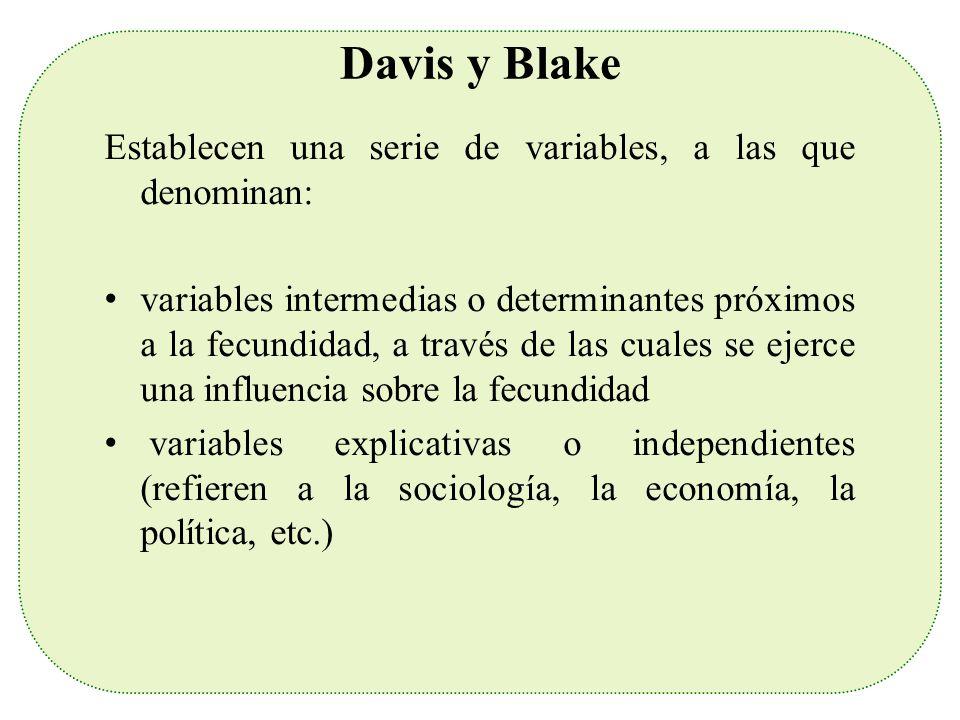 Davis y Blake Establecen una serie de variables, a las que denominan: variables intermedias o determinantes próximos a la fecundidad, a través de las