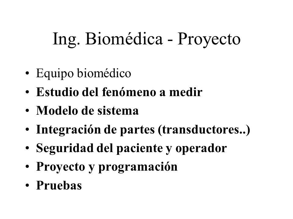 Ing. Biomédica - Proyecto Equipo biomédico Estudio del fenómeno a medir Modelo de sistema Integración de partes (transductores..) Seguridad del pacien