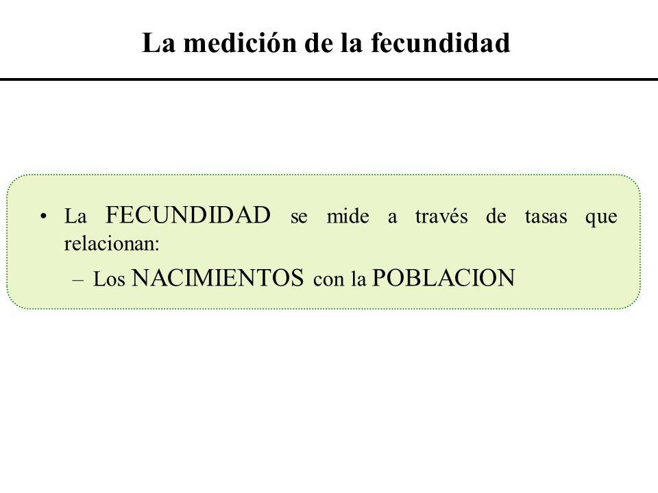 La medición de la fecundidad La FECUNDIDAD se mide a través de tasas que relacionan: –Los NACIMIENTOS con la POBLACION