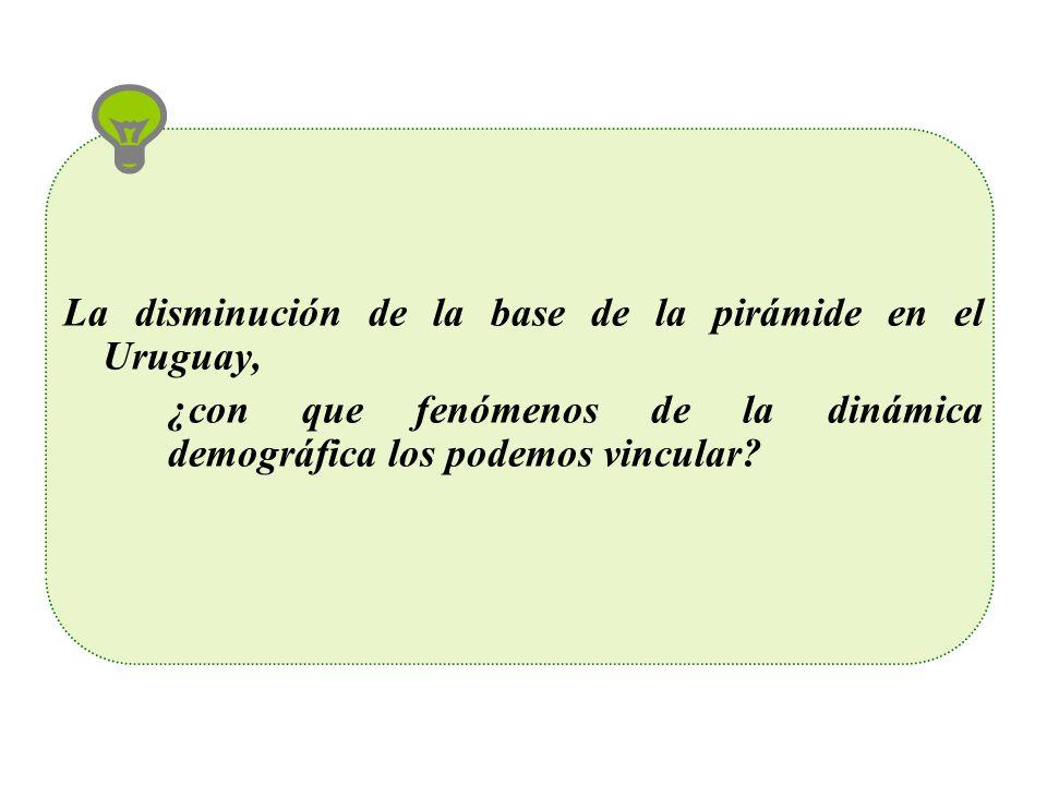 TASA GLOBAL DE FECUNDIDAD: Periodos: 1963 – 2006 País: Uruguay Tasa Global de Fecundidad, Uruguay 1963 - 2006 1,00 1,25 1,50 1,75 2,00 2,25 2,50 2,75 3,00 19631975198519962006 Año TGF TGF: de las TEF*5 TGF: de las TEF*5 Fuente: Elaboración propia en base a Estadísticas Vitales y Censos de Población, INE