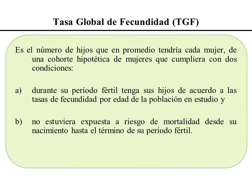 Tasa Global de Fecundidad (TGF) Es el número de hijos que en promedio tendría cada mujer, de una cohorte hipotética de mujeres que cumpliera con dos c