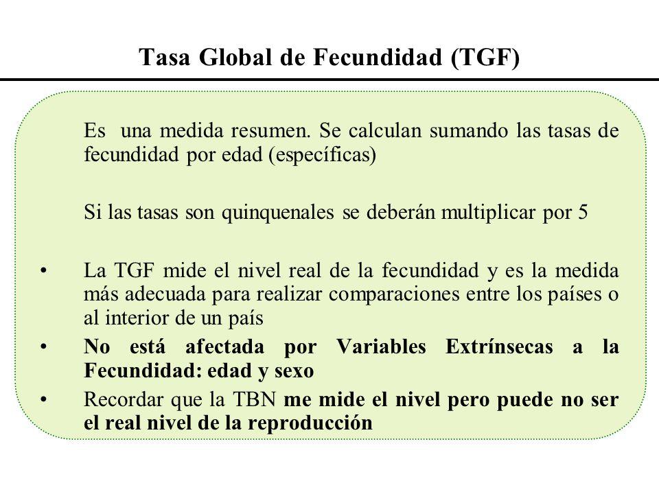 Tasa Global de Fecundidad (TGF) Es una medida resumen. Se calculan sumando las tasas de fecundidad por edad (específicas) Si las tasas son quinquenale