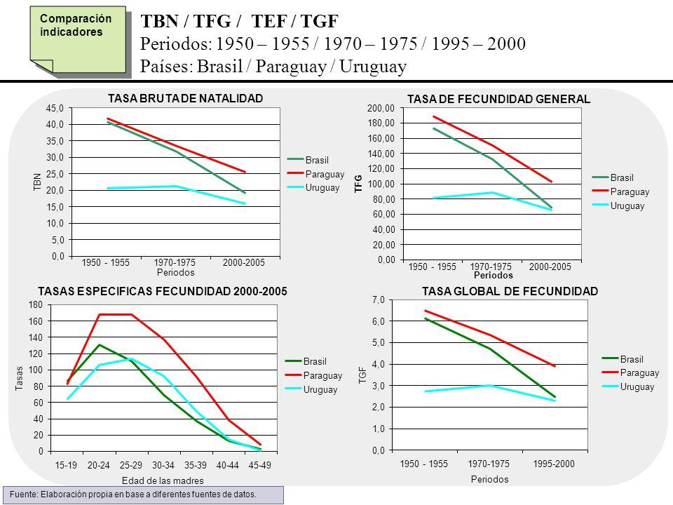 TBN / TFG / TEF / TGF Periodos: 1950 – 1955 / 1970 – 1975 / 1995 – 2000 Países: Brasil / Paraguay / Uruguay Comparación indicadores TASA DE FECUNDIDAD