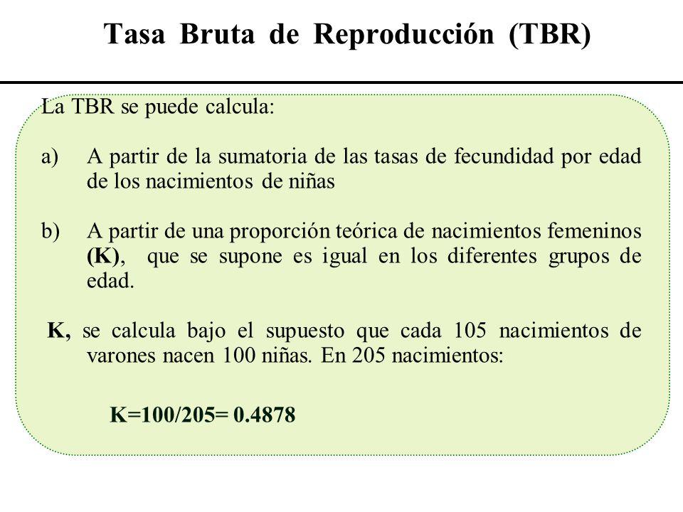 Tasa Bruta de Reproducción (TBR) La TBR se puede calcula: a)A partir de la sumatoria de las tasas de fecundidad por edad de los nacimientos de niñas b