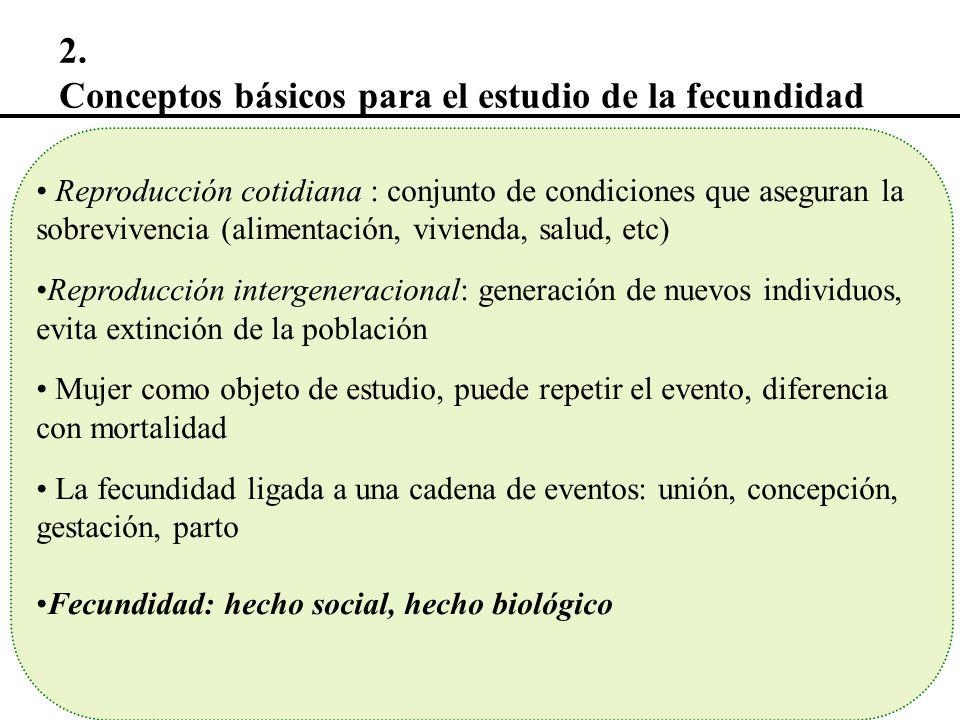 2. Conceptos básicos para el estudio de la fecundidad Reproducción cotidiana : conjunto de condiciones que aseguran la sobrevivencia (alimentación, vi