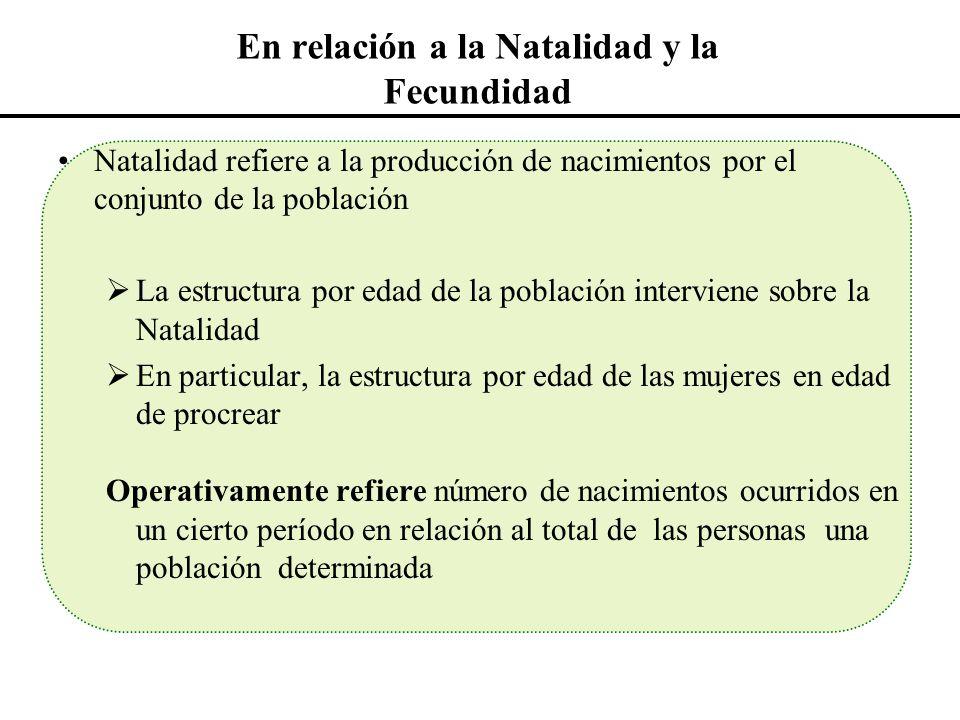 En relación a la Natalidad y la Fecundidad Natalidad refiere a la producción de nacimientos por el conjunto de la población La estructura por edad de