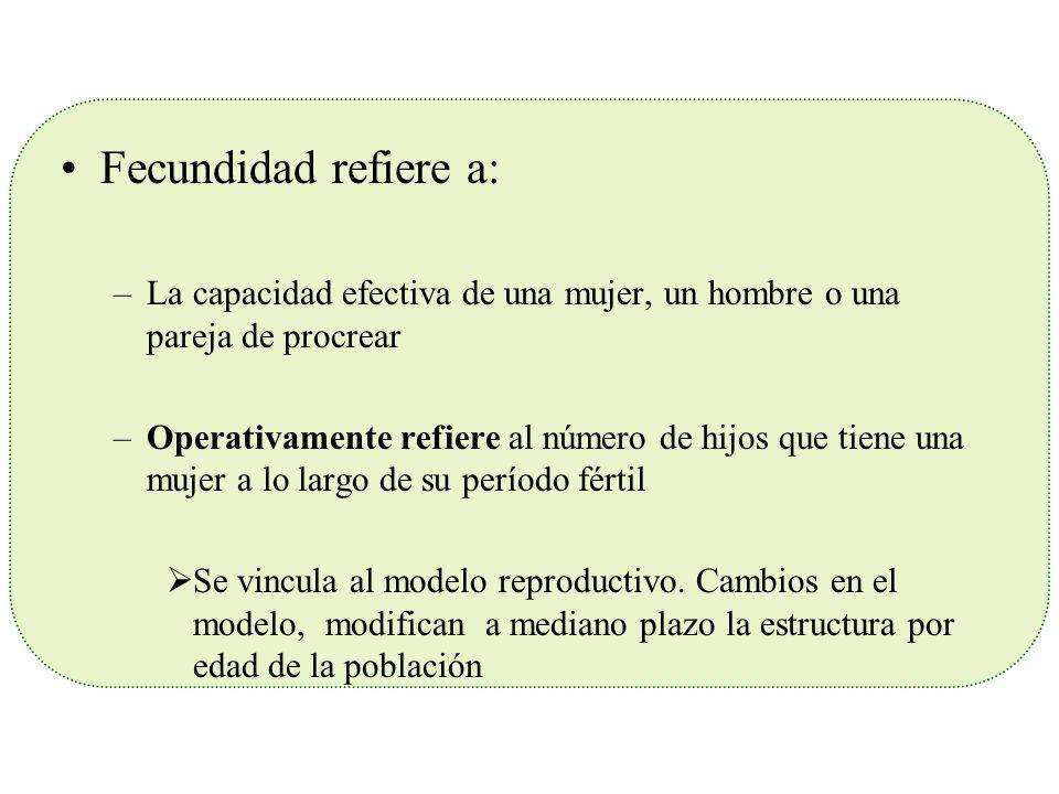 Fecundidad refiere a: –La capacidad efectiva de una mujer, un hombre o una pareja de procrear –Operativamente refiere al número de hijos que tiene una