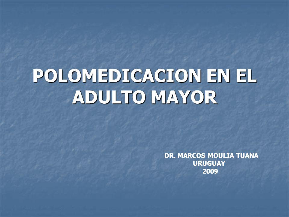 POLIFARMACIA Justificada en muchos casos es a menudo desproporciona- da para los problemas que presentan los pacientes.