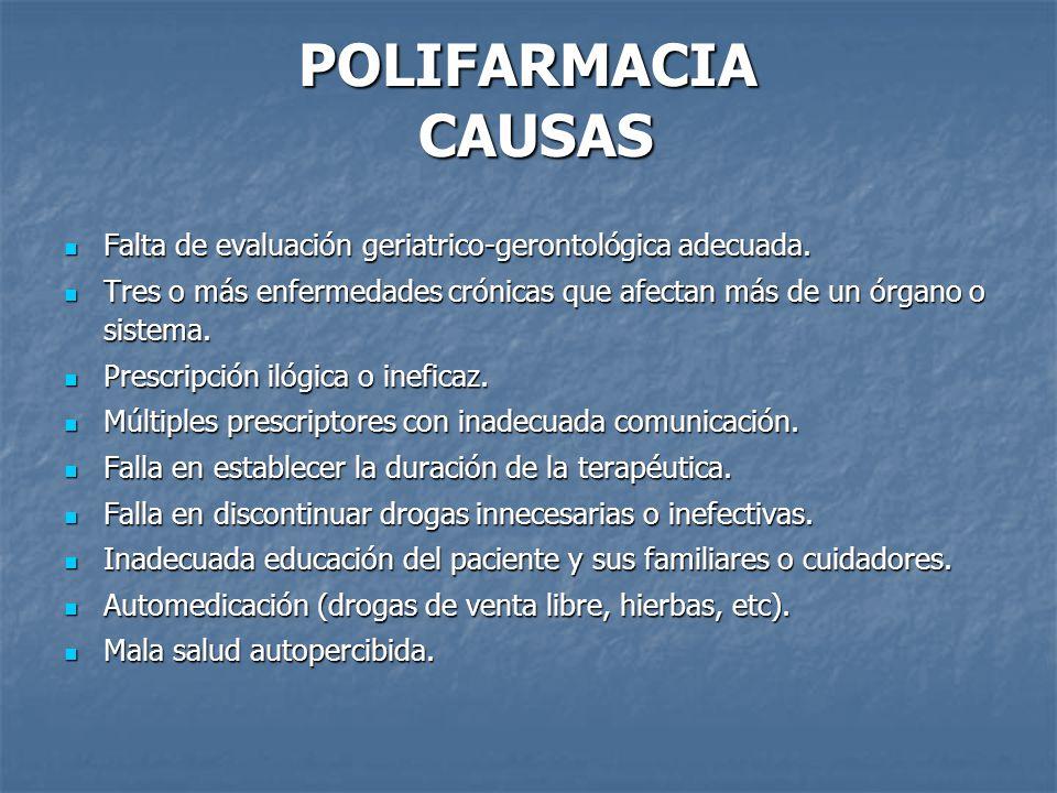 POLIFARMACIA CAUSAS Falta de evaluación geriatrico-gerontológica adecuada.