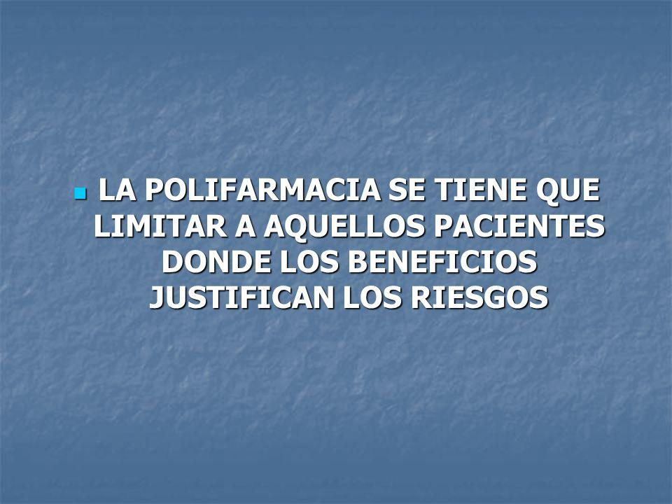 LA POLIFARMACIA SE TIENE QUE LIMITAR A AQUELLOS PACIENTES DONDE LOS BENEFICIOS JUSTIFICAN LOS RIESGOS LA POLIFARMACIA SE TIENE QUE LIMITAR A AQUELLOS PACIENTES DONDE LOS BENEFICIOS JUSTIFICAN LOS RIESGOS